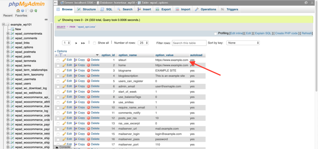 siteurl in WordPress Database