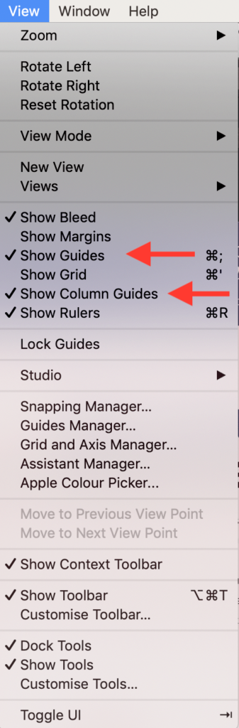 How to Show Guides and Column Guides Affinity Designer
